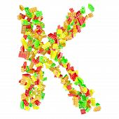 The letter K is made up of children's blocks
