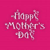Floral decorated text Happy Mothers Day on pink background.