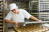 Female baker baking fresh bread rolls in the bakehouse