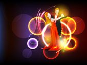 Dance party background with couple dancing on shiny background.
