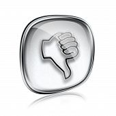 Thumb Down Icon Grey Glass, Isolated On White Background.