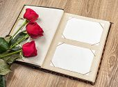 photo album and roses on a wooden background