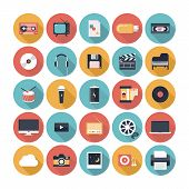 foto of studio  - Modern flat icons vector illustration collection with long shadow design effect in stylish colors of multimedia symbols sound instruments audio and video items and objects - JPG