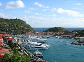 Aerial view at Gustavia Harbor with mega yachts at St. Barts, French West Indies