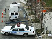 Numerous NYPD cars providing security in World Trade Center area of Manhattan