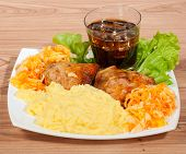 picture of spit-roast  - grill chicken with mashed potato cola ice and vegetables on a plate - JPG