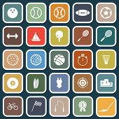 Sport Flat Icons On Blue Background