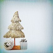 Christmas Tree And Baubles On Background Of The Old Textured Fabric
