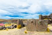 image of urn funeral  - Funerary towers and ruins in Sillustani PeruSouth America - JPG