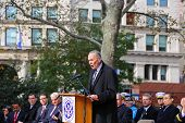 US Senator Charles Schumer at podium