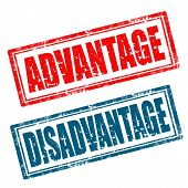 foto of disadvantage  - Set of grunge rubber stamps with words Advantage - JPG