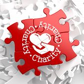 Charity Concept on Red Puzzle.