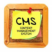 CMS. Yellow Sticker on Bulletin.