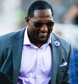 CANTON, OH-AUG 3: Former Baltimore Ravens linebacker Ray Lewis (R) walks off the field during the NF