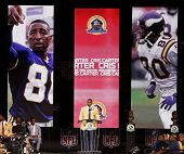 CANTON, OH-AUG 3: Former Minnesota Vikings receiver Cris Carter gives his speech during the NFL Class of 2013 Enshrinement Ceremony at Fawcett Stadium on August 3, 2013 in Canton, Ohio.