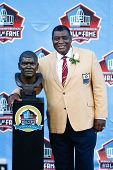 CANTON, OH-AUG 3: Former Green Bay Packers linebacker Dave Robinson poses with his bust during the N