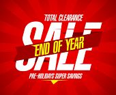 stock photo of year end sale  - End of year final clearance design in retro style with ribbon - JPG