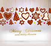 Hanging Gingerbread Christmas Cookies for Xmas Decoration. Blur Silver Snowflakes Background. Vector