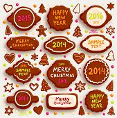 Christmas Cookies Set - Frames, Borders, Gingerbread man, Xmas Tree, Star, Heart. 2014, 2015, 2016 y
