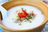 rice porridge in ceramic bowl
