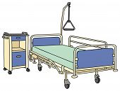 stock photo of bunk-bed  - hand drawing of a recent hospital bed - JPG