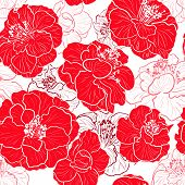 Seamless red pattern with floral background