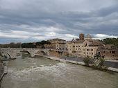 Bad Weather Over Tiber Island , Rome