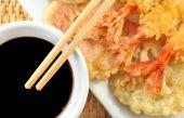 Shrimp Tempura With Chopsticks And Soy Sauce poster