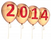 stock photo of helium  - Happy New Year 2014 balloons party decoration gold - JPG