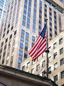American flag in manhattan New York