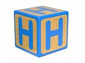 Letter H on Childrens Alphabet Block.