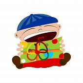 foto of dd  - Cartoon character holding a colorful gift - JPG