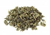 Gunpowder tea isolated on the white background