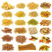 Pasta collection isolated on white background