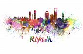 Riyadh Skyline In Watercolor