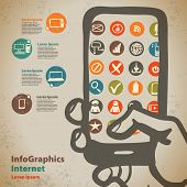 Template For Infographic With Devices To Access The Internet In Vintage Style