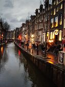 The Famous Street Red Light District In Amsterdam. Netherlands