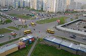 KIEV, UKRAINE -APR 24, 2014: Cross of yhe roads.Typical modern residential area. A recently built block of apartments .April 24, 2014 Kiev, Ukraine