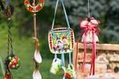 stock photo of talisman  - Street sale of Ukrainian souvenirs amulets and talismans - JPG