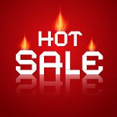 Vector Hot Sale Paper Title In Flames on Red Background