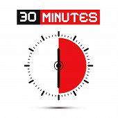 Thirty Minutes Stop Watch - Clock Vector IllustrationPrint