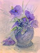 Violets Watercolor Painting Abstract