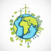 World Environment Day concept with illustration of urban city and rural town on a mother earth globe.