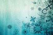 Digitally generated girly floral design in blue