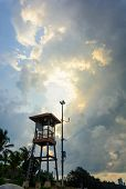Life guard tower during a storm