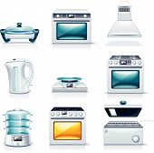 image of kitchen appliance  - Set of the detailed domestic appliances icons - JPG
