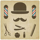 stock photo of barber razor  - barber old background  - JPG