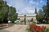 Copenhagen, Denmark: Circa July 2013-Christiansborg Palace Gardens & Fountain in Copenhagen