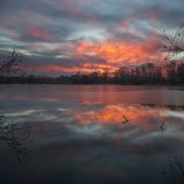 stock photo of dnepropetrovsk  - Beautiful sunrise on the pond. Dnepropetrovsk Ukraine