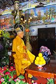 Dalat - circa November 2013: imperishable monk in a Buddhist temple in Dalat circa November 2013